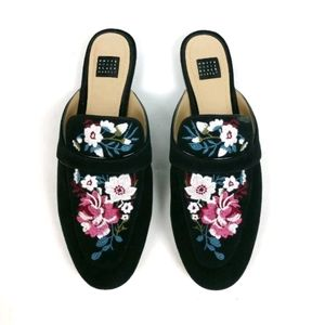 White House Black Market embroidered slip on mules